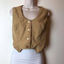 Condor California Womens Tan Tailored Vintage 70s Button Up Scoop Neck Vest S/M