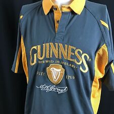 Guinness Gray Polo Shirt Gold Harp Crest And Arthur Guinness Signature White