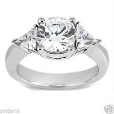 2.07 ct total Engagement Wedding 14K WhiteGold Ring round Diamond 1.53 ct center