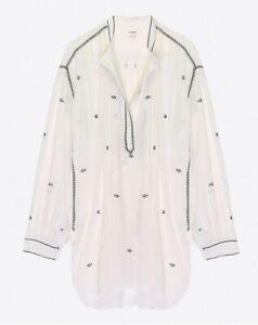 Isabel Marant Etoile Embroidered White Blouse Shirt 40 Uk 12 Rrp £230