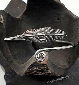 Boho tribal beautiful feather and swirl bangle adjustable silver brass