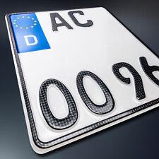 1 CARBON Motorrad Kennzeichen | 180 x 200 mm | OFFIZIELLES Nummernschild | DHL