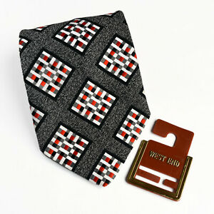 Vintage Mens Neck Tie Black Red White Geometric Pattern Made in Australia