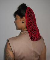 Filet cheveux snood pinup retro vintage en crochet rouge coiffure 40/50's