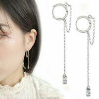 Women 925 Silver Crystal Long Tassel Earrings Threader Drop Dangle Ear Line UK.