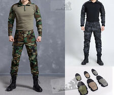 Tactical Combat Uniform Sets Army Shirt Pants Military Elbow Knee Pads