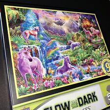 🦄 NEW SEALED MasterPieces Puzzle UNICORNS Glow In The Dark Retreat Rainbow 500