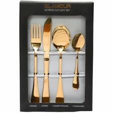 Sabichi Glamour 16 Piece Gold Cutlery Set - Stainless Steel