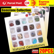 20pcs Crystal Gemstone Polished Healing Chakra Stone Collection Display Set