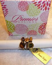"PREMIER DESIGNS JEWELY ""Mosaic"" Set of 3 Gold & Gem Stack Rings Size 5 NWT NIB"