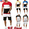 US Summer Men Summer TrackSuit T Shirt Sport Suit Tennis Wear Tops+Pants Set