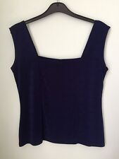 Ladies sleeveless top size L navy blue stretchy waist length, sleeveless