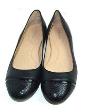 COMFORTABLE LAND'S END BLACK GENUINE LEATHER FLAT SHOES SIZE 9 B / 40