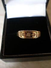 BOYS GIRLS LADYS 9CT GOLD DIAMOND SET 3 STONE RING BNIB MADE IN ENGLAND
