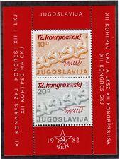 Jugoslavia 1982 Bf 12° Congresso del Partito Comunista jugoslavo MNH