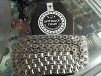 "SHADOW CONSPIRACY INTERLOCK V2 1/2"" X 1/8"" SILVER BMX BICYCLE HALFLINK CHAIN"