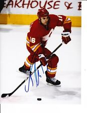 CALGARY FLAMES TOM KOSTOPOULOS SIGNED RED JERSEY 8X10