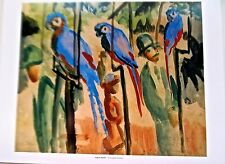 August Macke Poster Visiting the Parrots Offset Lithograph Unsigned 14x11