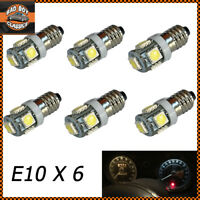 E10 LED Bulbs White Screw Fitting Gauge Dash Instrument Upgrade x6 MGB, MIDGET