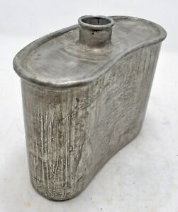 Vintage Iron Tin Travelling Water Bottle Original Old