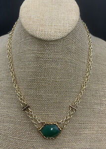 Barse Kinetic Chain Necklace-Green Onyx- Bronze- NWT