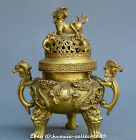Chinese fengshui old Bronze two dragon Opera beads Statue incense burner censer