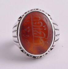 Islamic Silver agate aqeeq aqiq Men Ring-yemen-yemeni