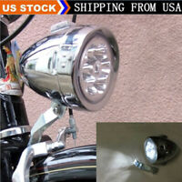 With 6leds Chrome Retro Bicycle Headlight Vintage Fog Lamp Bike Front Head Light
