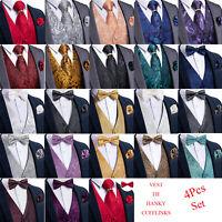 DiBanGu Men Paisley Floral Waistcoat Vest Necktie Tie Ring Bowtie Hanky Cufflink
