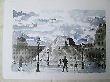 "Watercolor Print / The Louvre at Dawn, Paris, France / 14"" x 10"" / Mimi Davis, A"