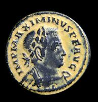 Certified Authentic Ancient Roman Coin Maximinus II Follis PTR Treveri Genius