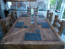 Oak Dining Table Set Rustic Handmade