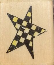 Wood Mounted Rubber Stamp - Checkerboard Star