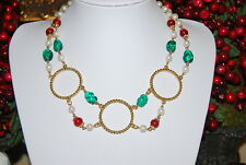 VINTAGE ETRUSCAN STYLE NECKLACE FAUX PEARLS RED & GREEN BEADS & GOLD TONED METAL