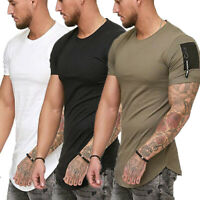 Summer Men T-shirt Sleeve Casual Tops Blouse Slim Fit O Neck Short Muscle Tee