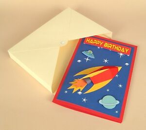 A4 Card Making Templates-3D Space Rocket Card