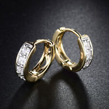 Diamond Clear Topaz Silver & Gold Filled Ring Huggies Lady Party Wedding Earring