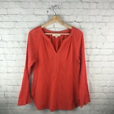 LOFT Small Orange Tunic Top Women's Long Sleeve Beaded Boho Casual Fall