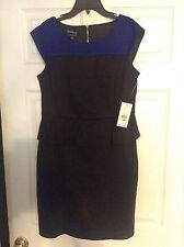 "`NWT-Evan Picone size 10P Black/Blue lined dress ""Santa Barbara"" MSRP$99"