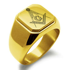 Square Biker Style Signet Ring Stainless Steel Masonic Floral Compass Mens