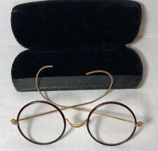 Vintage Ao Windsor Eyeglasses Spectacles Brown & Gold Frame Round Lens Case Euc
