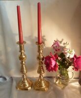 HUGE ANTIQUE PAIR OF VICTORIAN BRASS CANDLESTICKS WITH WORKING EJECTORS-1894