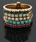 Vintage 14K YG 1.0CT sapphire ruby pearl opal turquoise multi-band ring size 6.5