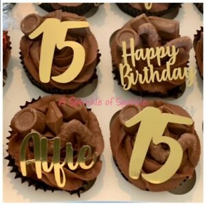 PERSONALISED HAPPY BIRTHDAY NAME AGE FOIL CUPCAKE TOPPERS PICKS CAKE TOPPER
