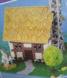 Mary Maxim Musical Spring Bunny Cottage Plastic Canvas Kit #7073 Easter