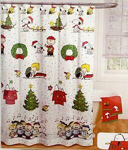 Snoopy Christmas Peanuts Shower Curtain Bathroom Hooks Charlie Brown 70x72 New