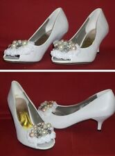 Brautschuhe mit Satinblumen und Perlen Weiss Gr. 39 SHANNEN Neu