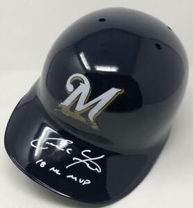 "CHRISTIAN YELICH Autographed Brewers ""18 NL MVP"" Batting Helmet STEINER"