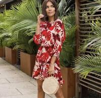 Johanna Ortiz X H&M Flounced Leaf Printed Dress Size SMALL NWT