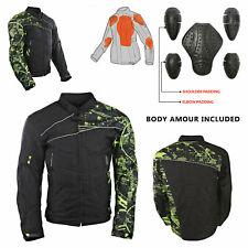 Moto Black Motorcycle Jacket Mens Textile CE Armoured Motorbike Waterproof New